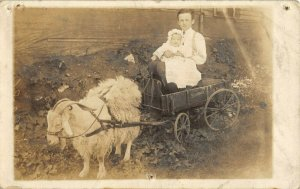 Big Brother Holds Baby Sister in Shaggy Goat Drawn Studebaker Wagon~c1912 RPPC