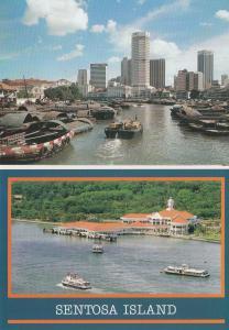 Sentosa Island Boats River 2x Singapore Postcard s