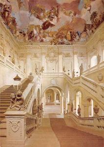Wuerzburg Residenz, Treppenhaus von Balthasar Neumann mit Deckenfresko Europa