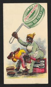 VICTORIAN TRADE CARD Handy Box Shoe Polish Black Mom & Boy