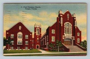 Tampa FL-Florida, First Christian Church, Linen c1948 Postcard