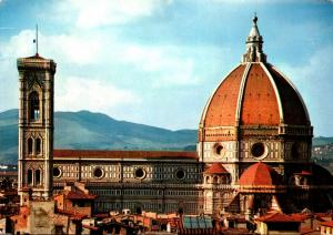 Italy Firenze Dome By Brunelleschi and Church Steeple By Giotto