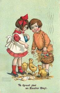 Katharine Gassaway~Easter~Children Feed Hatched Chicks~Basket~Emb~TUCK Ser 130