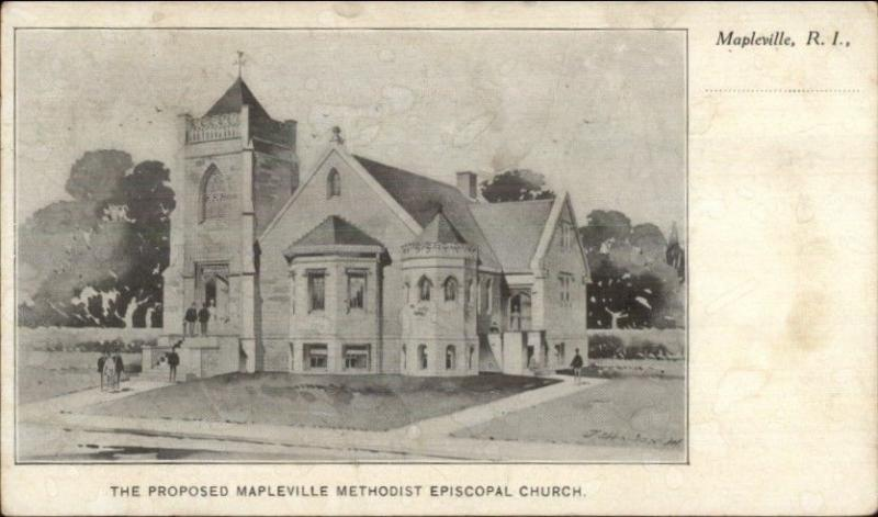 Mapleville RI Proposed ME Church c1905 Postcard