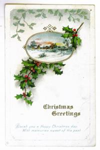 Ebenezer to Gardenville, New York 1914 Embossed Christmas Postcard