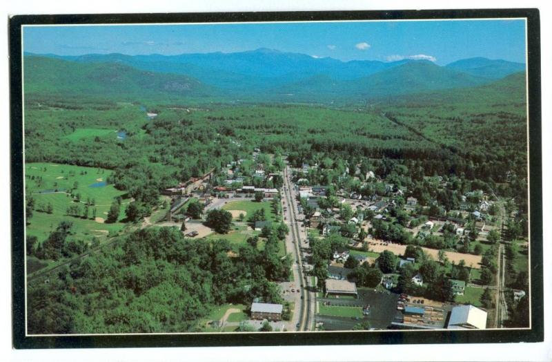 Aerial view of North Conway looking toward Mt. Washington