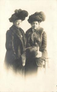 Two Ladies w/Merry Window's Hats~Fur Coats~Hand Muff ~Real Photo Postcard c1913