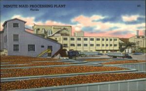 Minute Maid Orange Processing Plant Florida FL Linen Postcard