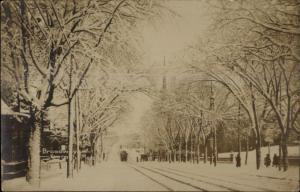 Everett MA Broadway in Winter c1910 Real Photo Postcard