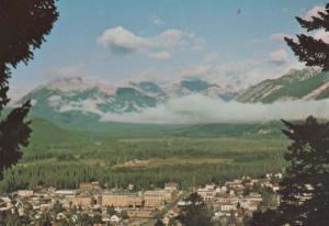 Banff Alta Aerial Birds Eye Canada Canadian Postcard