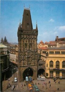 Praha goticka 12x17cm card Czech R. Powder Tower gothic Prague architecture