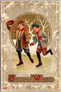 Vintage 1912 CHRISTMAS WISHES Embossed Postcard Two Boy ICE SKATING Frozen Pond