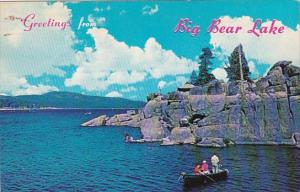 California San Bernardino Mountains Greetings From Big Bear Lake Fishing Scen...
