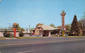 Provo Utah~Rambler Motel on Route~Googie Start Sign~Close to BGU 1950s Postcard