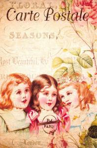 Postcard French Vintage Shabby Chic Style Pretty Girls, Fashion, Hair,Floral 72J