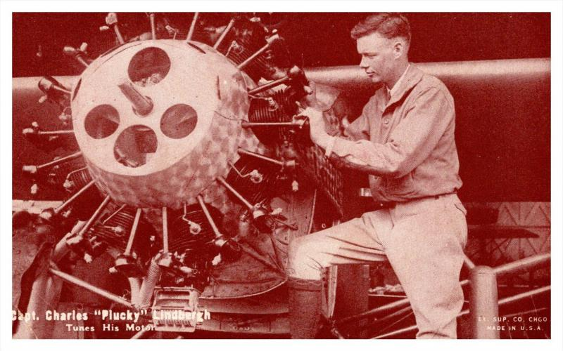 21896   Capt. Charles Plucky Lindbergh tunes his Motor (movie card )