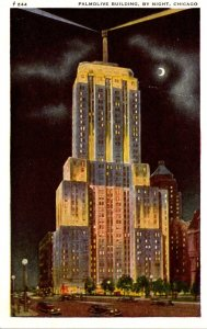 Illinois Chicago The Palmolive Building By Night