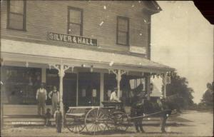Gossville NH Silver & Hall Bldg Post Office Horse Wagon Real Photo Postcard