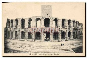 Old Postcard Arles Les Arenes the Grand Staircase