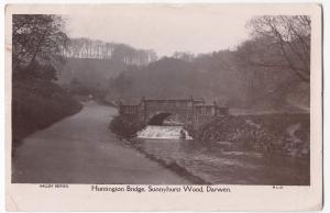 Lancashire; Huntingdon Bridge, Sunnyhurst Wood, Darwen RP PPC, 1921 PMK