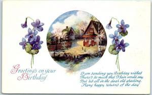 1910s HAPPY BIRTHDAY Greetings Postcard House by River / Purple Flowers UNUSED