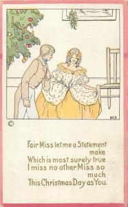 M.E.B. signed Christmas tree fantasy fair miss statement art deco 1910s U.S.