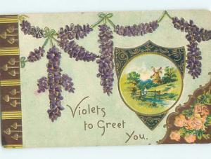 Pre-Linen art nouveau VIOLETS TO GREET YOU - BY THE FLOWERS SHOWN HJ3458