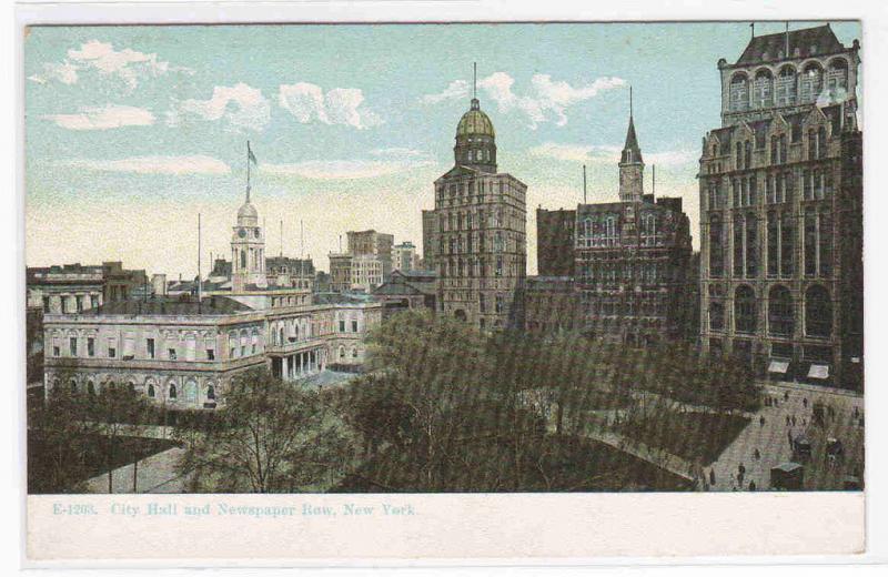 City Hall Newspaper Row New York City 1910c postcard