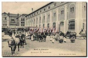 Old Postcard Folklore Wine Harvest Champagne Moet & Chandon bottles Reception