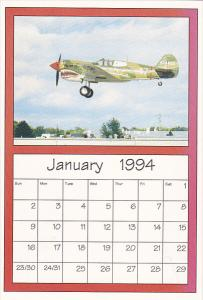 January 1994 Limited Editon Calendar Card AirShow '94 Curtiss P-40