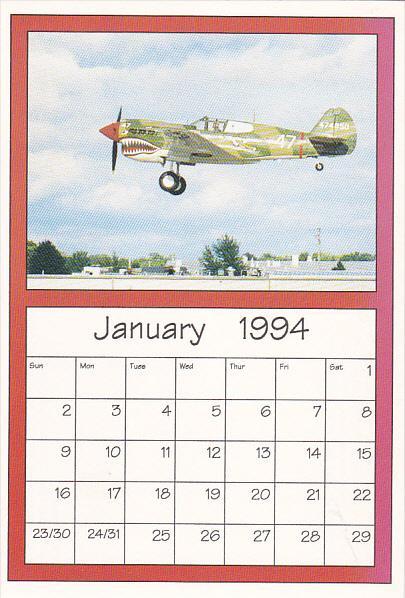 January 1994 Limited Editon Calendar Card AirShow '94 Curtiss P-40