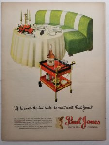 1946 LIFE Mag Color Ad Paul Jones Whiskey Drinks Tray Dinner Out EXL100174