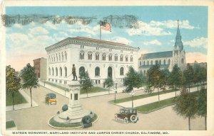 Watson Monument, Maryland Institute, Corpus Christi Church Postcard