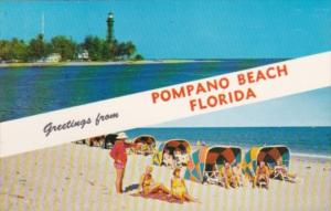 Florida Greetings From Pompano Beach Showing Lighthouse