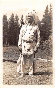 D80/ Native American Indian Real Photo RPPC Postcard c1950s Chief Headdress 5