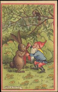 artist signed MARJA DE RUYTER Dwarf Gnome Rabbit Bunny (1940s) (2)