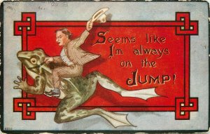c1909 Postcard; Man Riding a Frog, Seems I'm Always on the Jump! Posted