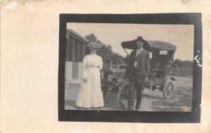 Los Animas Colorado~Otis & Lovely Lady in White~Vintage Car~1909 Real Photo~RPPC