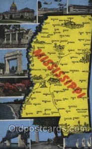 Mississippi, USA Map, Maps Postcard Postcards Unused