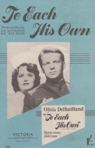 To Each His Own Olivia DeHavilland 1940s Sheet Music