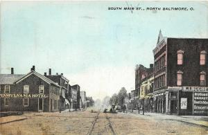 F27/ North Baltimore Ohio Postcard 1915 South Main Street Hotel Stores