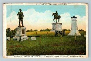 Gettysburg PA-Pennsylvania Maine Battery Statues Vintage c1929 Postcard
