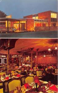 Kalamazoo Michigan~Holiday Inn Crosstown @ Night~Luxurious Dining Room~1960s Pc