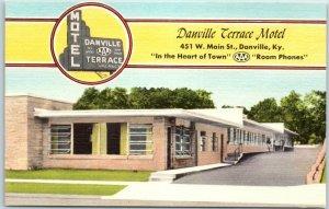 Danville, Kentucky Postcard DANVILLE TERRACE MOTEL Route 150 Roadside Dated 1958