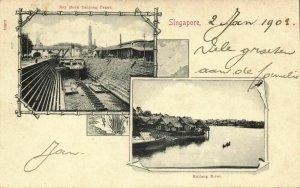 straits, SINGAPORE, Kallang River, Dry Dock Tanjong Pagar (1903) Postcard