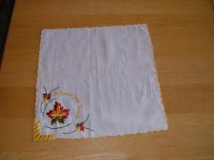 Cotton Embroidered Handkerchief 'A Present from Toronto' Ontario 10 inch Squ.