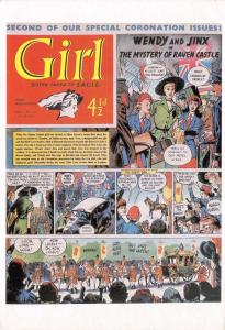 Postcard GIRL Comic / Paper, Sister paper to EAGLE, 1951 Reproduction Cover OS9