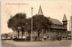 1907 Evanston, IL Postcard City Hall and Fountain Square Street Scene Trolley