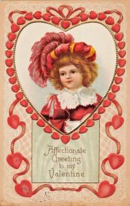 AFFECTIONATE GREETING TO MY VALENTINE-CUTE LITTLE GIRL IN RED-EMBOSSED POSTCARD