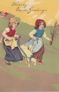 EASTER, PU-1907; Two girls with sheep, colored eggs in apron, PFB 5753